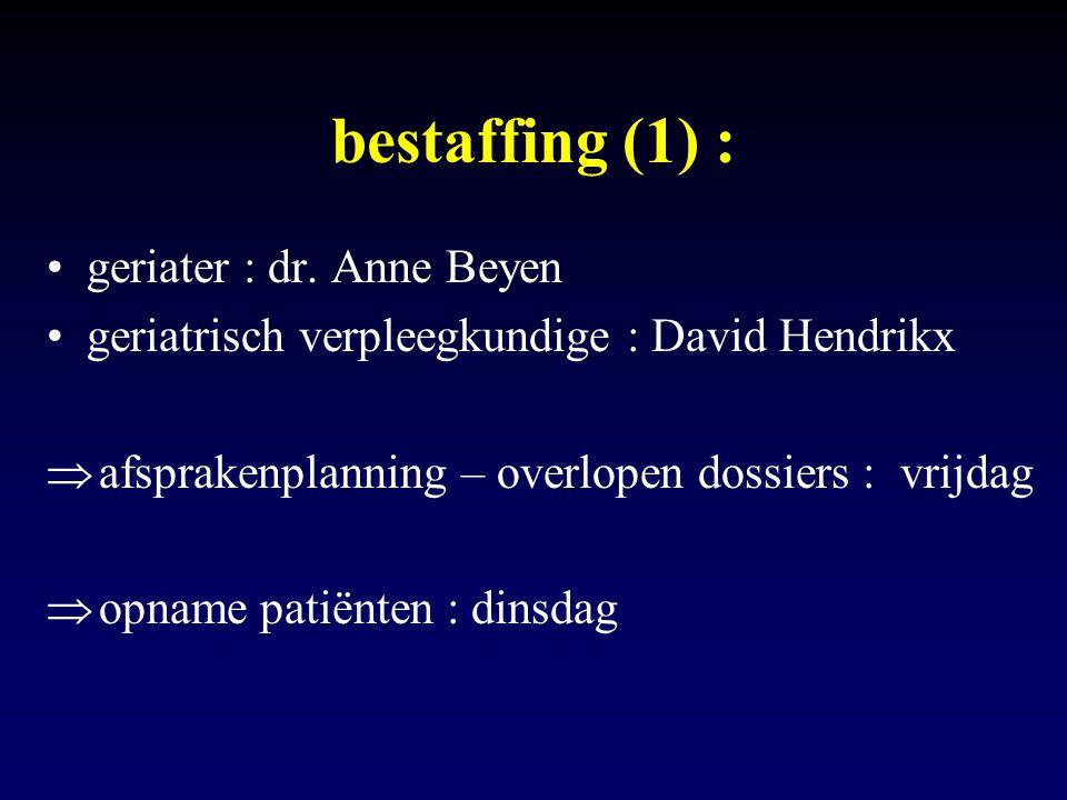 bestaffing (1) : geriater : dr. Anne Beyen geriatrisch verpleegkundige : David Hendrikx  afsprakenplanning – overlopen dossiers : vrijdag  opname pa