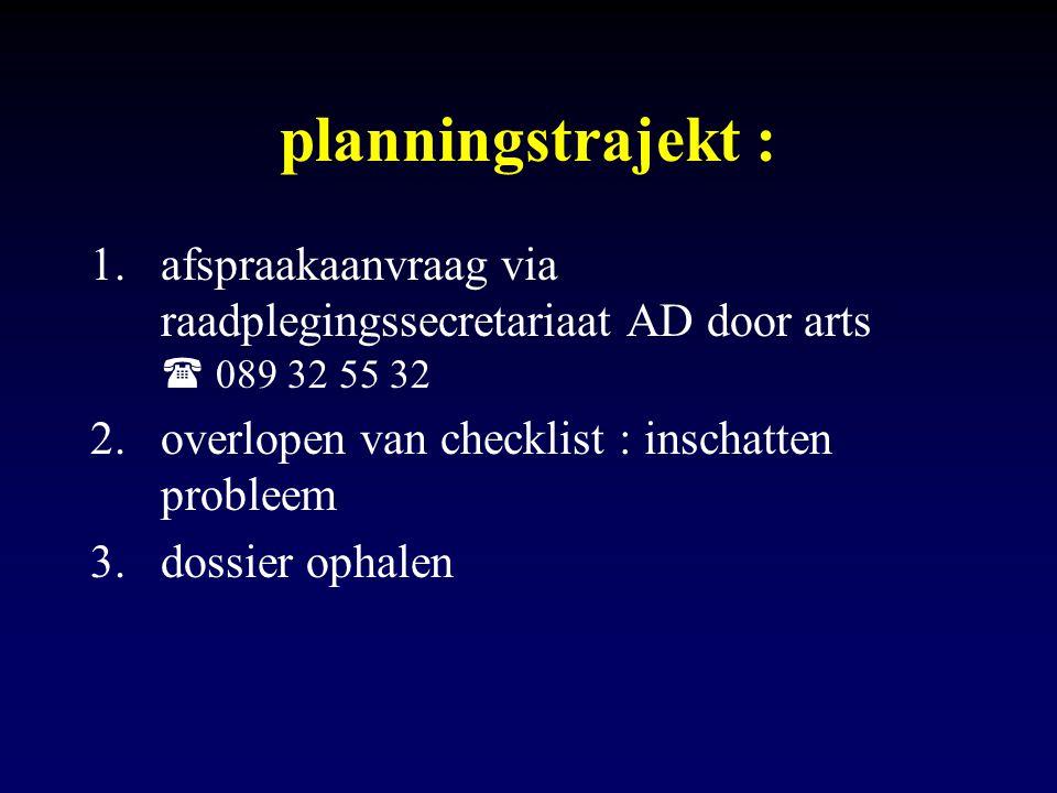 planningstrajekt : 1.afspraakaanvraag via raadplegingssecretariaat AD door arts  089 32 55 32 2.overlopen van checklist : inschatten probleem 3.dossi
