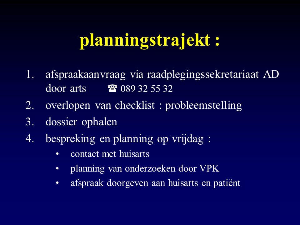 planningstrajekt : 1.afspraakaanvraag via raadplegingssekretariaat AD door arts  089 32 55 32 2.overlopen van checklist : probleemstelling 3.dossier