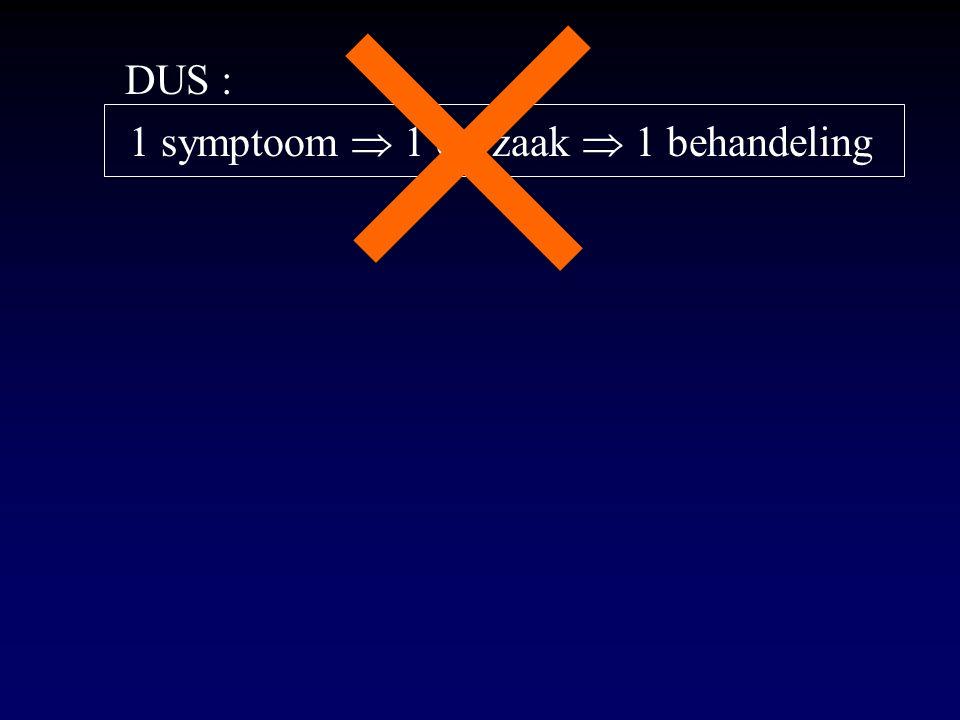 DUS : 1 symptoom  1 oorzaak  1 behandeling