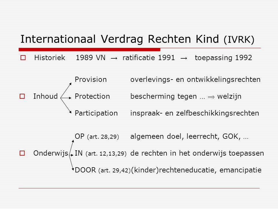 Internationaal Verdrag Rechten Kind (IVRK)  Historiek1989 VN → ratificatie 1991 → toepassing 1992 Provisionoverlevings- en ontwikkelingsrechten  Inh