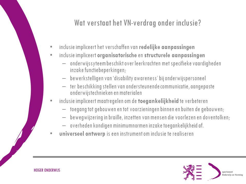 Vlaams Doelstellingenkader Handicap : –in ontwerpfase; –opgemaakt onder coördinatie van het team Gelijke Kansen Vlaanderen; –acties vanuit alle 13 beleidsdomeinen van de Vlaamse gemeenschap; –consultaties van het middenveld (gehandicaptenorganisaties); –Strategische doelstelling = het wegwerken van de drempels in de samenleving die volwaardige participatie van personen met een handicap verhinderen of belemmeren; –luik hoger onderwijs.