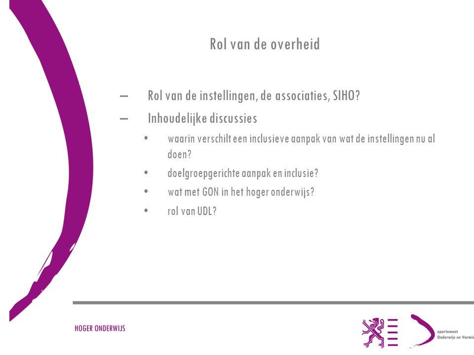 Rol van de overheid –Rol van de instellingen, de associaties, SIHO.