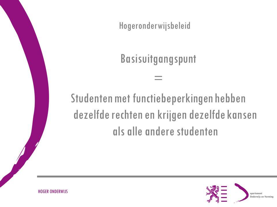 Hogeronderwijsbeleid Basisuitgangspunt = Studenten met functiebeperkingen hebben dezelfde rechten en krijgen dezelfde kansen als alle andere studenten