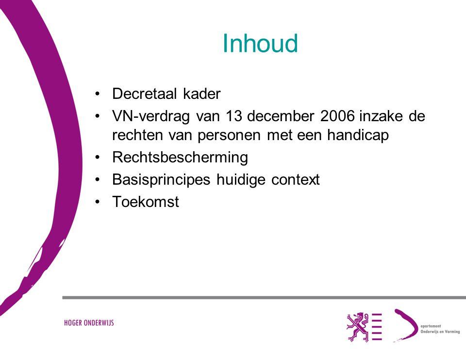 SIHO - studiedag te Brussel - 25 februari 2010 - Karla Van Lint Inhoud Decretaal kader VN-verdrag van 13 december 2006 inzake de rechten van personen met een handicap Rechtsbescherming Basisprincipes huidige context Toekomst