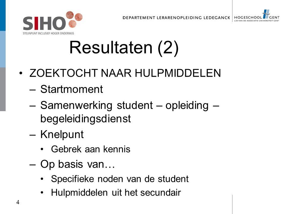 Resultaten (2) ZOEKTOCHT NAAR HULPMIDDELEN –Startmoment –Samenwerking student – opleiding – begeleidingsdienst –Knelpunt Gebrek aan kennis –Op basis v
