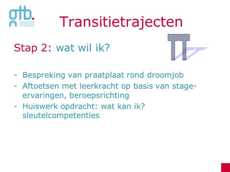 Transitietrajecten Stap 2: wat wil ik? -Bespreking van praatplaat rond droomjob -Aftoetsen met leerkracht op basis van stage- ervaringen, beroepsricht