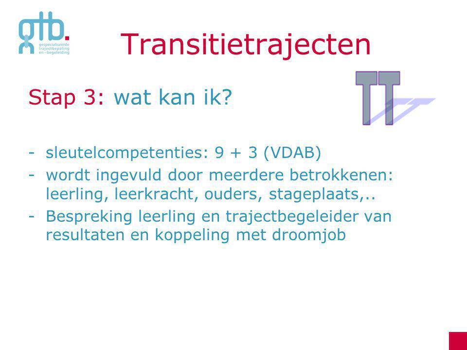 Transitietrajecten Stap 3: wat kan ik? -sleutelcompetenties: 9 + 3 (VDAB) -wordt ingevuld door meerdere betrokkenen: leerling, leerkracht, ouders, sta