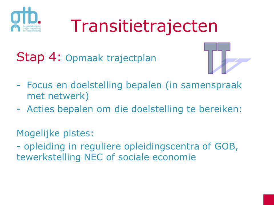 Transitietrajecten Stap 4: Opmaak trajectplan -Focus en doelstelling bepalen (in samenspraak met netwerk) -Acties bepalen om die doelstelling te berei