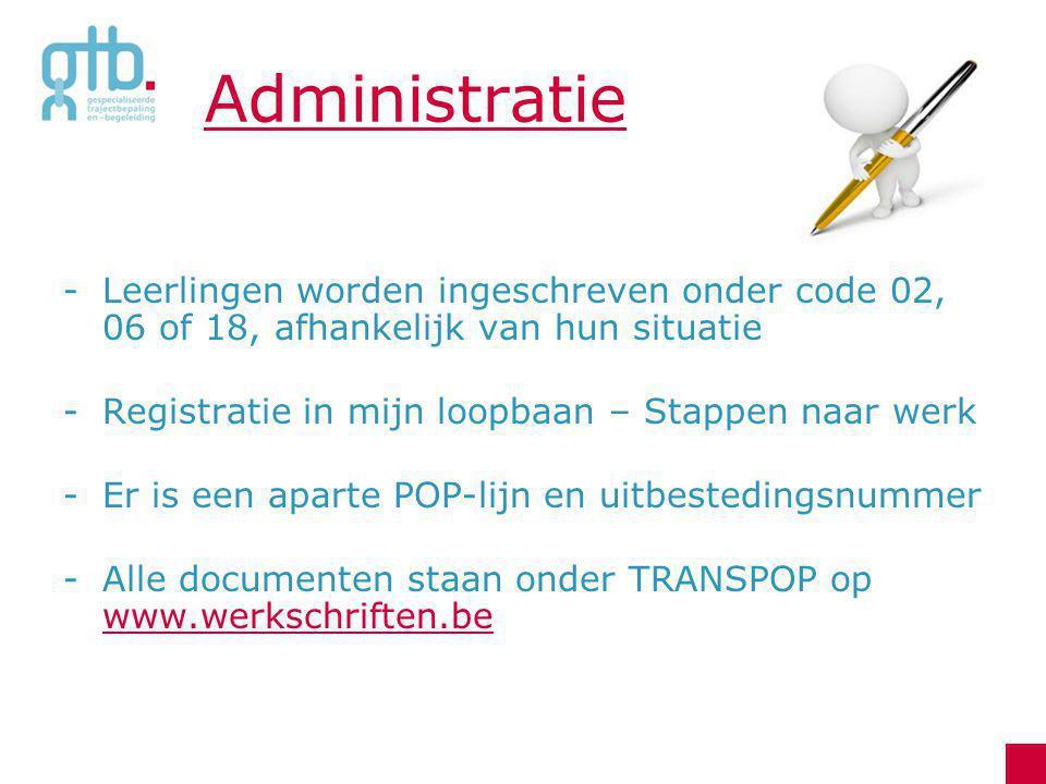 Administratie -Leerlingen worden ingeschreven onder code 02, 06 of 18, afhankelijk van hun situatie -Registratie in mijn loopbaan – Stappen naar werk