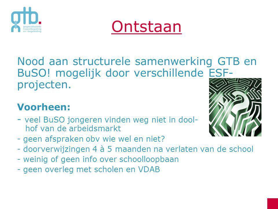 Ontstaan Nood aan structurele samenwerking GTB en BuSO! mogelijk door verschillende ESF- projecten. Voorheen: - veel BuSO jongeren vinden weg niet in