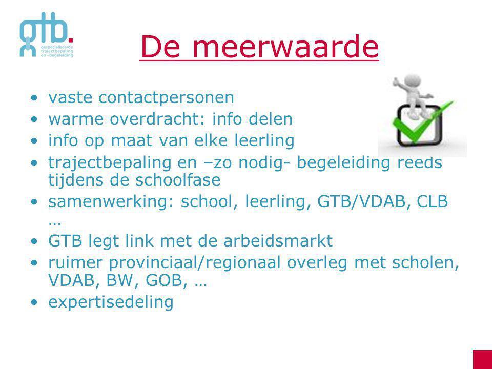 Schooljaar 2012-2013 Dé transitietrajecten → in vorig schooljaar met GTB-middelen → op zoek naar: reguliere middelen.