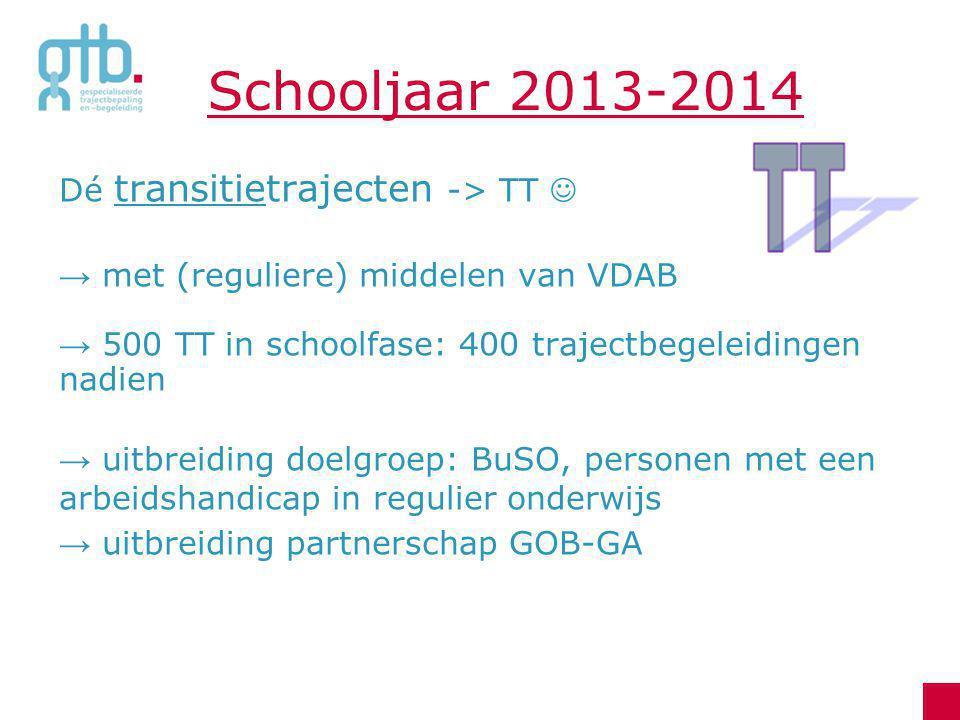 Schooljaar 2013-2014 Dé transitietrajecten -> TT → met (reguliere) middelen van VDAB → 500 TT in schoolfase: 400 trajectbegeleidingen nadien → uitbrei