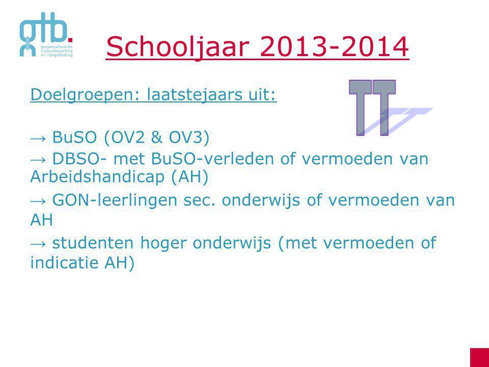 Schooljaar 2013-2014 Doelgroepen: laatstejaars uit: → BuSO (OV2 & OV3) → DBSO- met BuSO-verleden of vermoeden van Arbeidshandicap (AH) → GON-leerlinge
