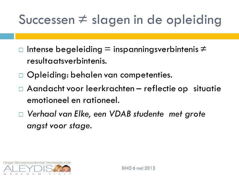 Successen ≠ slagen in de opleiding  Intense begeleiding = inspanningsverbintenis ≠ resultaatsverbintenis.