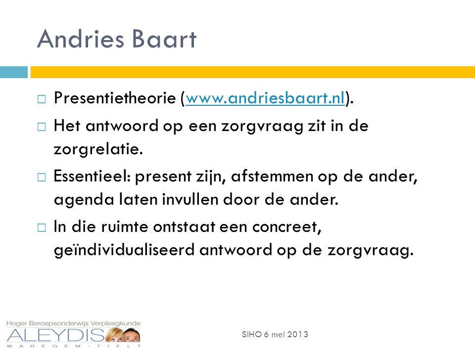 Andries Baart  Presentietheorie (www.andriesbaart.nl).www.andriesbaart.nl  Het antwoord op een zorgvraag zit in de zorgrelatie.