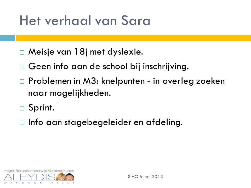 Het verhaal van Sara  Meisje van 18j met dyslexie.