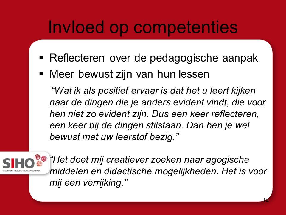Invloed op competenties  Reflecteren over de pedagogische aanpak  Meer bewust zijn van hun lessen Wat ik als positief ervaar is dat het u leert kijken naar de dingen die je anders evident vindt, die voor hen niet zo evident zijn.