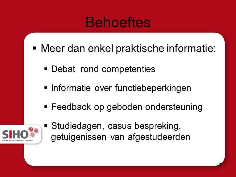 Behoeftes  Meer dan enkel praktische informatie:  Debat rond competenties  Informatie over functiebeperkingen  Feedback op geboden ondersteuning  Studiedagen, casus bespreking, getuigenissen van afgestudeerden 17