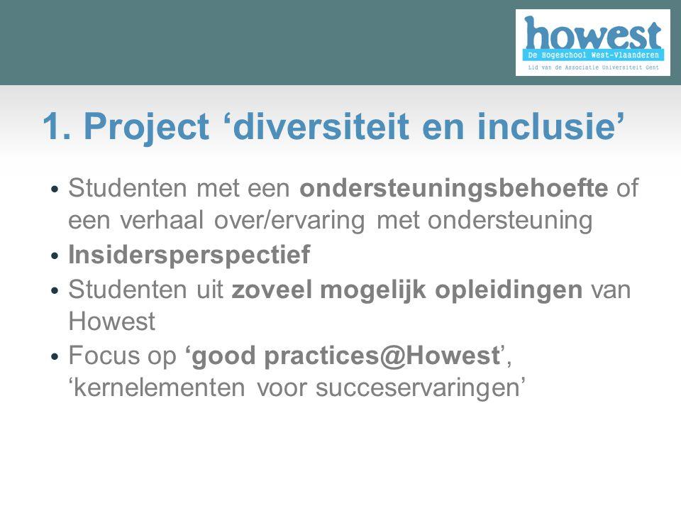 Studenten met een ondersteuningsbehoefte of een verhaal over/ervaring met ondersteuning Insidersperspectief Studenten uit zoveel mogelijk opleidingen van Howest Focus op 'good practices@Howest', 'kernelementen voor succeservaringen' 1.