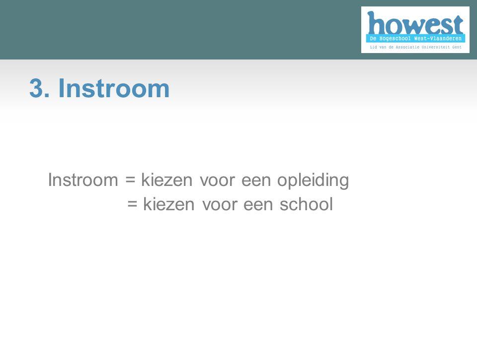 3. Instroom Instroom = kiezen voor een opleiding = kiezen voor een school ▫ ===
