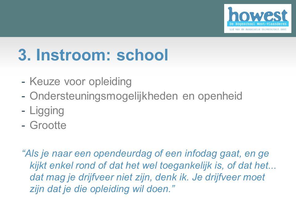 """3. Instroom: school -Keuze voor opleiding -Ondersteuningsmogelijkheden en openheid -Ligging -Grootte """"Als je naar een opendeurdag of een infodag gaat,"""