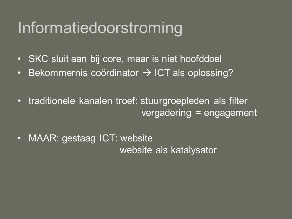 Informatiedoorstroming SKC sluit aan bij core, maar is niet hoofddoel Bekommernis coördinator  ICT als oplossing.