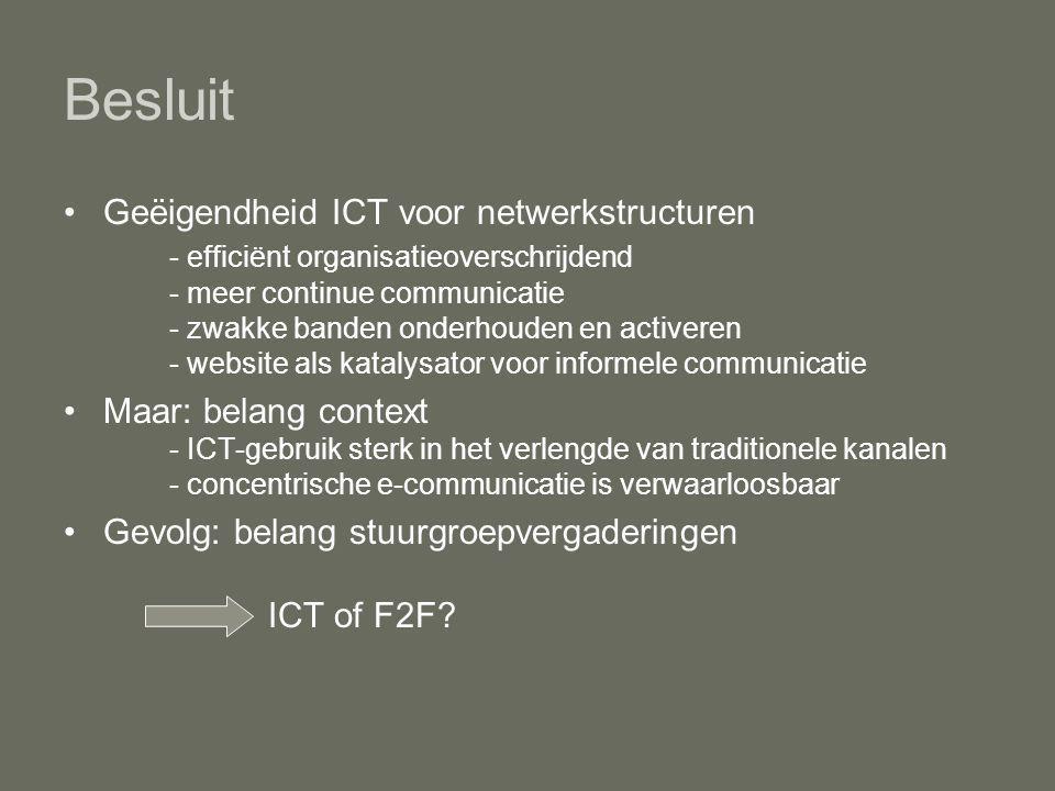 Besluit Geëigendheid ICT voor netwerkstructuren - efficiënt organisatieoverschrijdend - meer continue communicatie - zwakke banden onderhouden en activeren - website als katalysator voor informele communicatie Maar: belang context - ICT-gebruik sterk in het verlengde van traditionele kanalen - concentrische e-communicatie is verwaarloosbaar Gevolg: belang stuurgroepvergaderingen ICT of F2F?