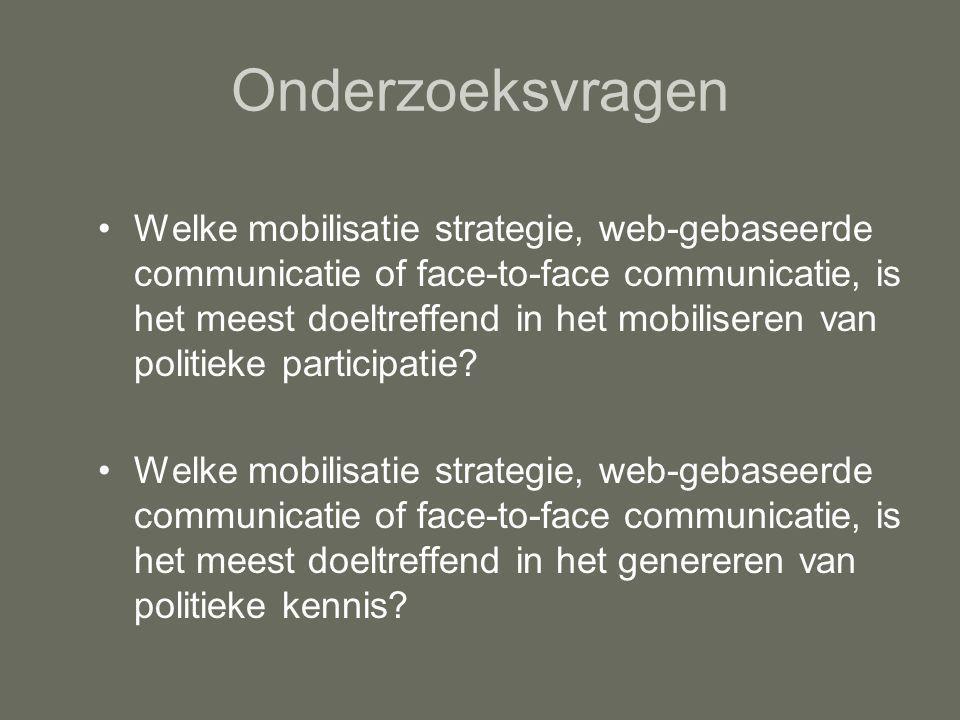 Onderzoeksvragen Welke mobilisatie strategie, web-gebaseerde communicatie of face-to-face communicatie, is het meest doeltreffend in het mobiliseren van politieke participatie.