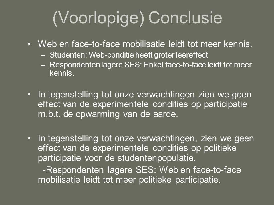 (Voorlopige) Conclusie Web en face-to-face mobilisatie leidt tot meer kennis.