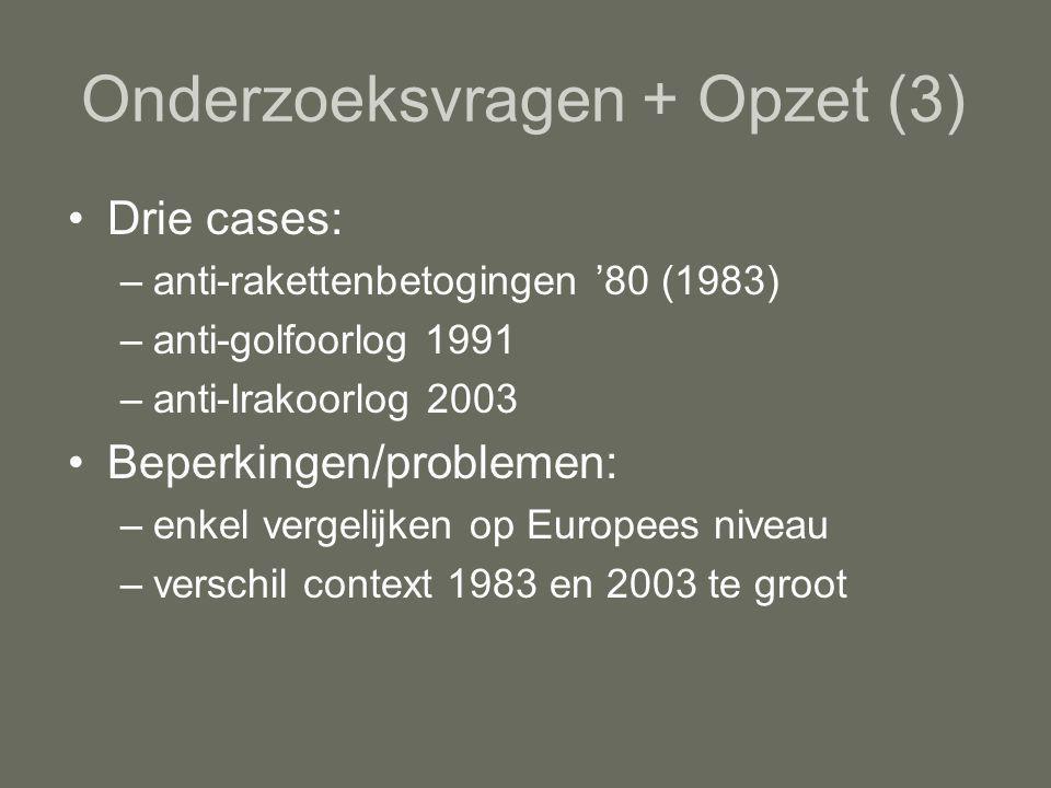 Onderzoeksvragen + Opzet (3) Drie cases: –anti-rakettenbetogingen '80 (1983) –anti-golfoorlog 1991 –anti-Irakoorlog 2003 Beperkingen/problemen: –enkel vergelijken op Europees niveau –verschil context 1983 en 2003 te groot