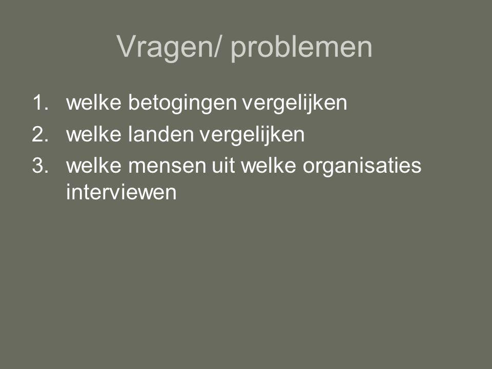 Vragen/ problemen 1.welke betogingen vergelijken 2.