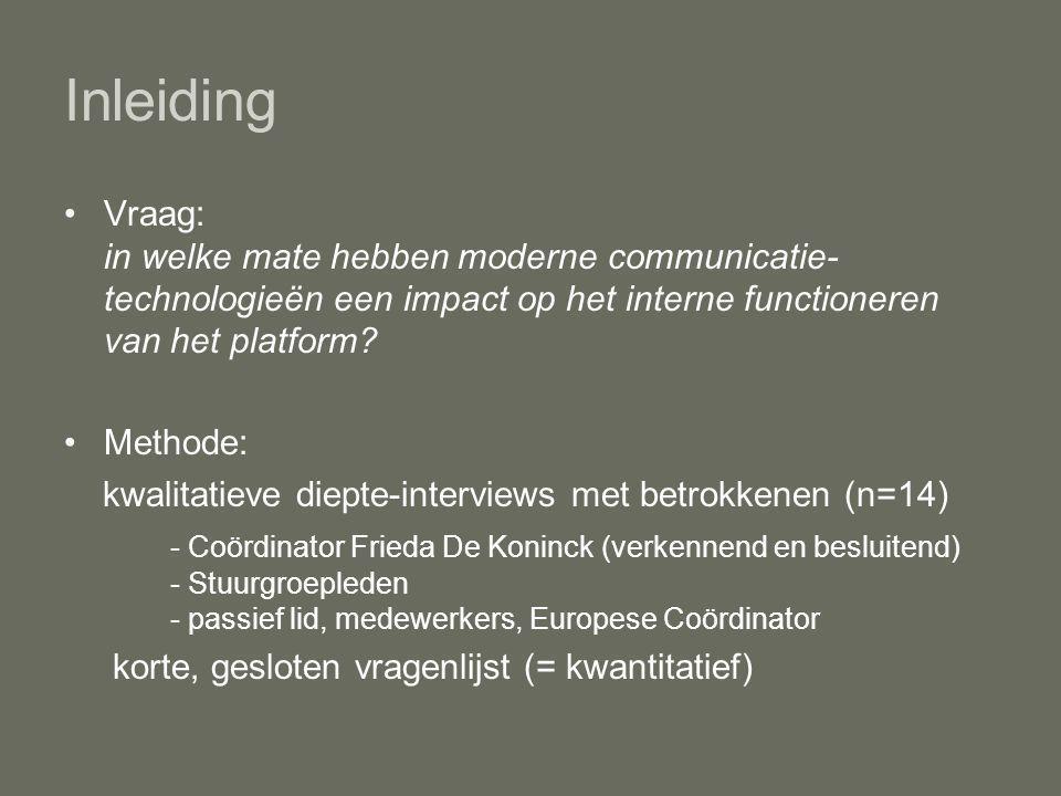 Inleiding Vraag: in welke mate hebben moderne communicatie- technologieën een impact op het interne functioneren van het platform.
