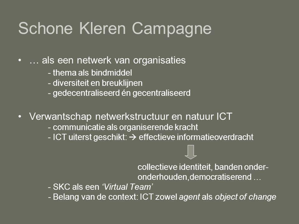 … als een netwerk van organisaties - thema als bindmiddel - diversiteit en breuklijnen - gedecentraliseerd én gecentraliseerd Verwantschap netwerkstructuur en natuur ICT - communicatie als organiserende kracht - ICT uiterst geschikt:  effectieve informatieoverdracht collectieve identiteit, banden onder- onderhouden,democratiserend … - SKC als een 'Virtual Team' - Belang van de context: ICT zowel agent als object of change Schone Kleren Campagne