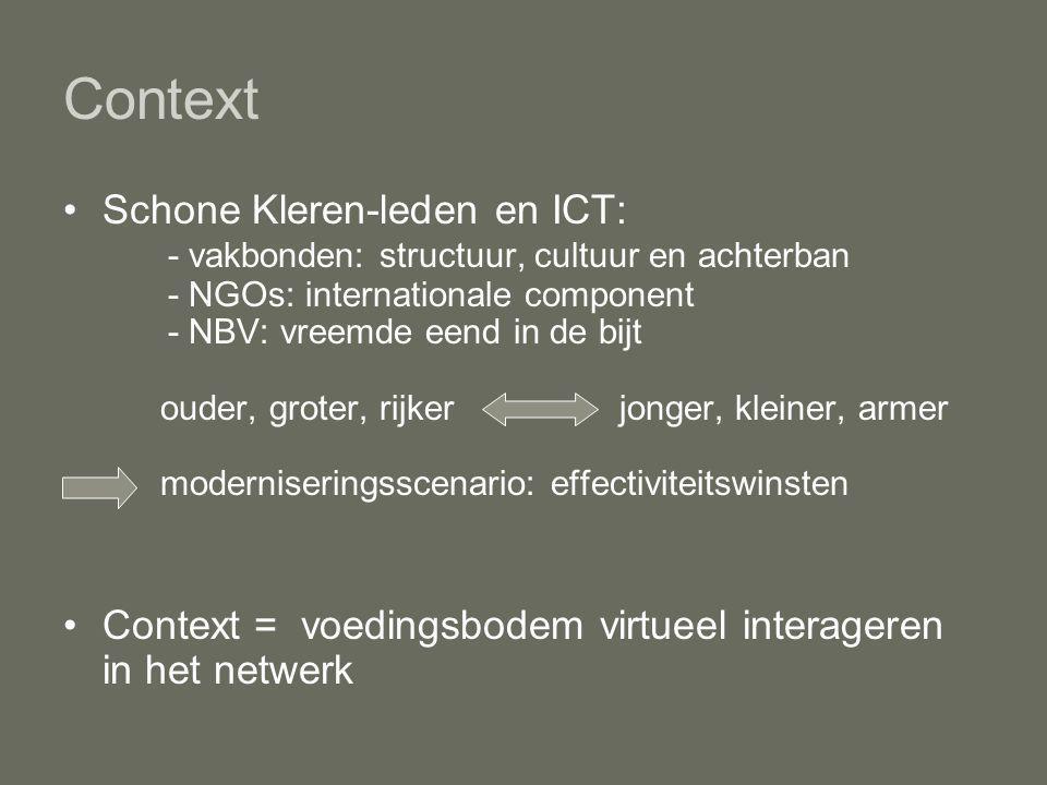 Context Schone Kleren-leden en ICT: - vakbonden: structuur, cultuur en achterban - NGOs: internationale component - NBV: vreemde eend in de bijt ouder, groter, rijker jonger, kleiner, armer moderniseringsscenario: effectiviteitswinsten Context = voedingsbodem virtueel interageren in het netwerk