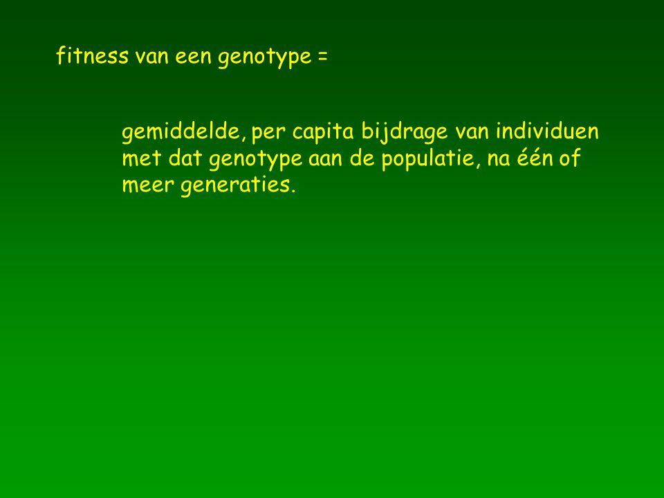 fitness van een genotype = gemiddelde, per capita bijdrage van individuen met dat genotype aan de populatie, na één of meer generaties.
