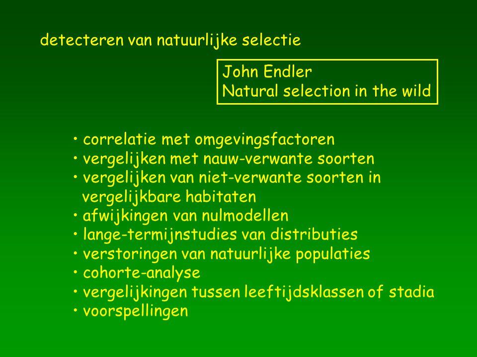 detecteren van natuurlijke selectie John Endler Natural selection in the wild correlatie met omgevingsfactoren vergelijken met nauw-verwante soorten v