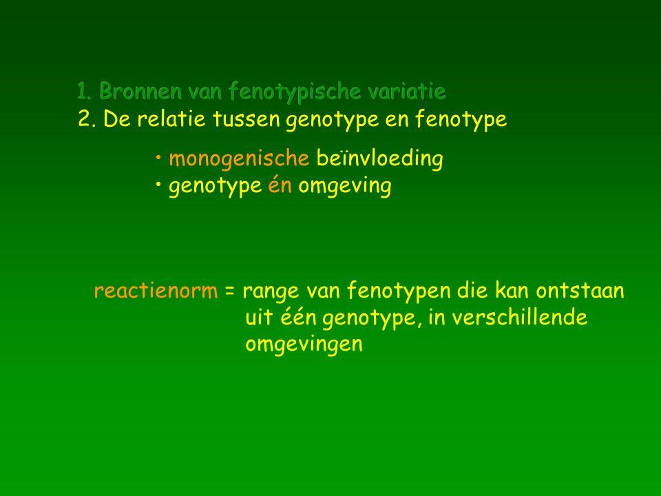 monogenische beïnvloeding genotype én omgeving reactienorm = range van fenotypen die kan ontstaan uit één genotype, in verschillende omgevingen