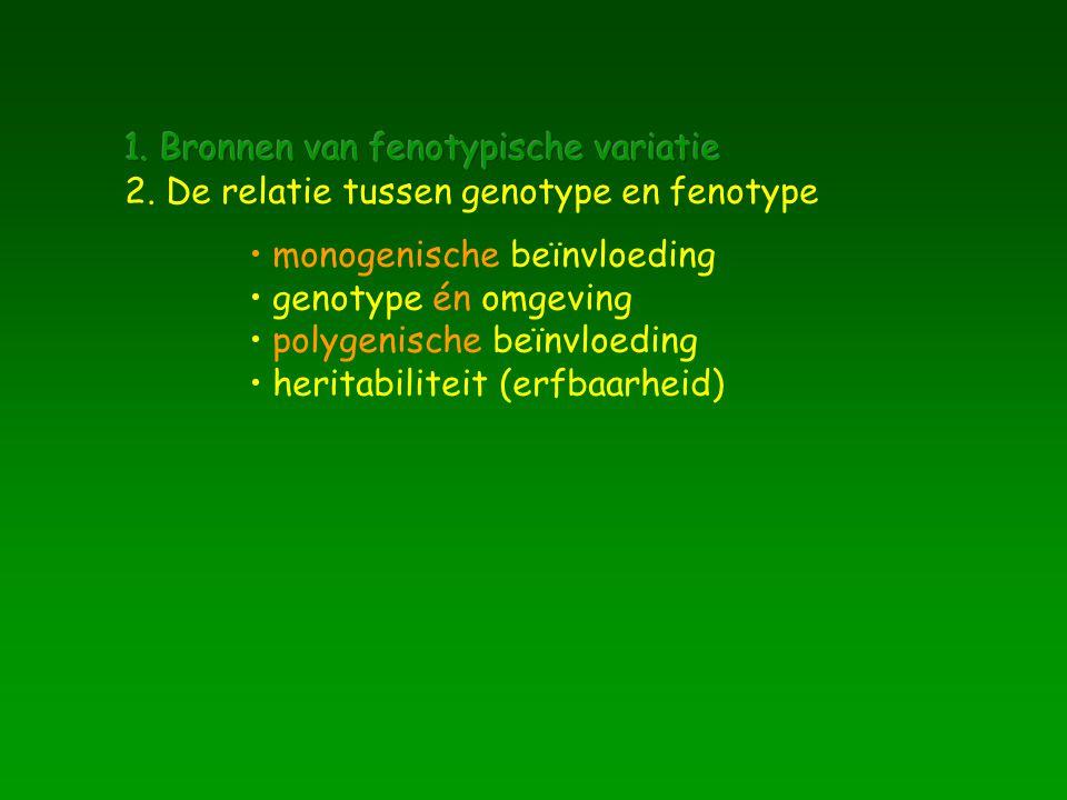 monogenische beïnvloeding genotype én omgeving polygenische beïnvloeding heritabiliteit (erfbaarheid)