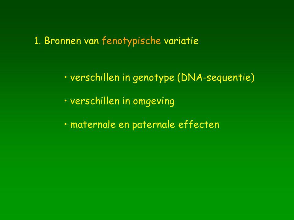 1. Bronnen van fenotypische variatie verschillen in genotype (DNA-sequentie) verschillen in omgeving maternale en paternale effecten