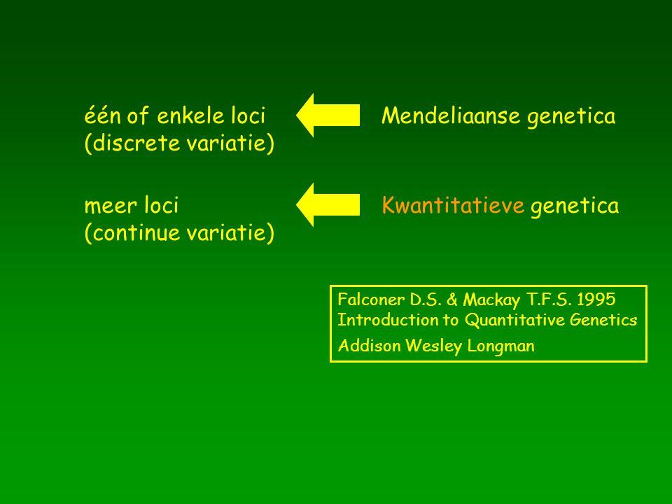 één of enkele loci (discrete variatie) Mendeliaanse genetica meer loci (continue variatie) Kwantitatieve genetica Falconer D.S. & Mackay T.F.S. 1995 I