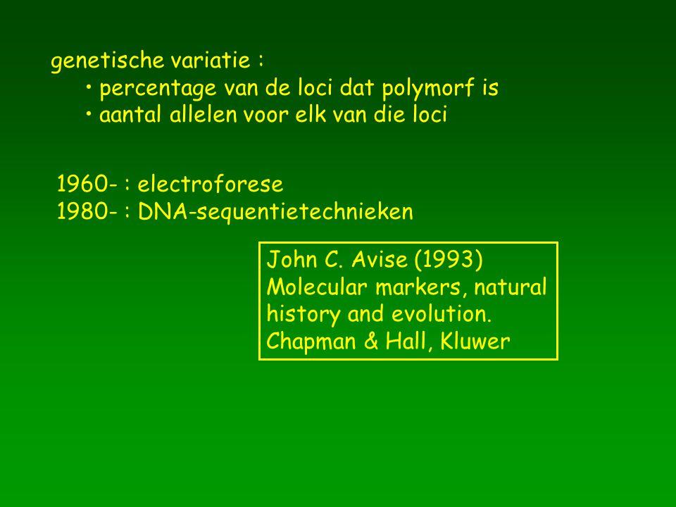 genetische variatie : percentage van de loci dat polymorf is aantal allelen voor elk van die loci 1960- : electroforese 1980- : DNA-sequentietechnieke