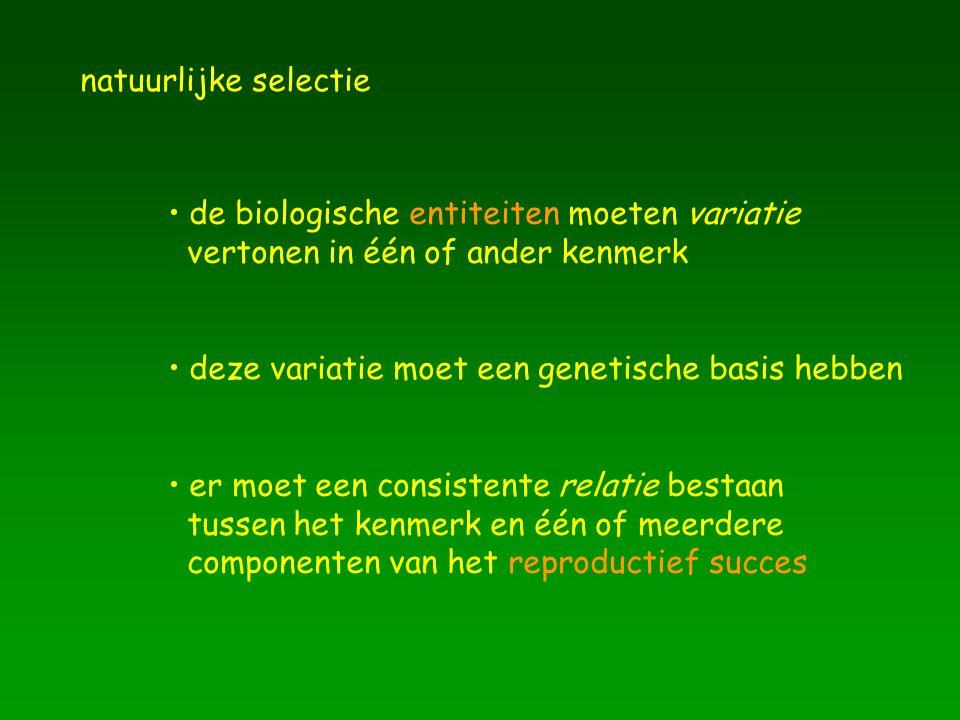natuurlijke selectie de biologische entiteiten moeten variatie vertonen in één of ander kenmerk er moet een consistente relatie bestaan tussen het ken