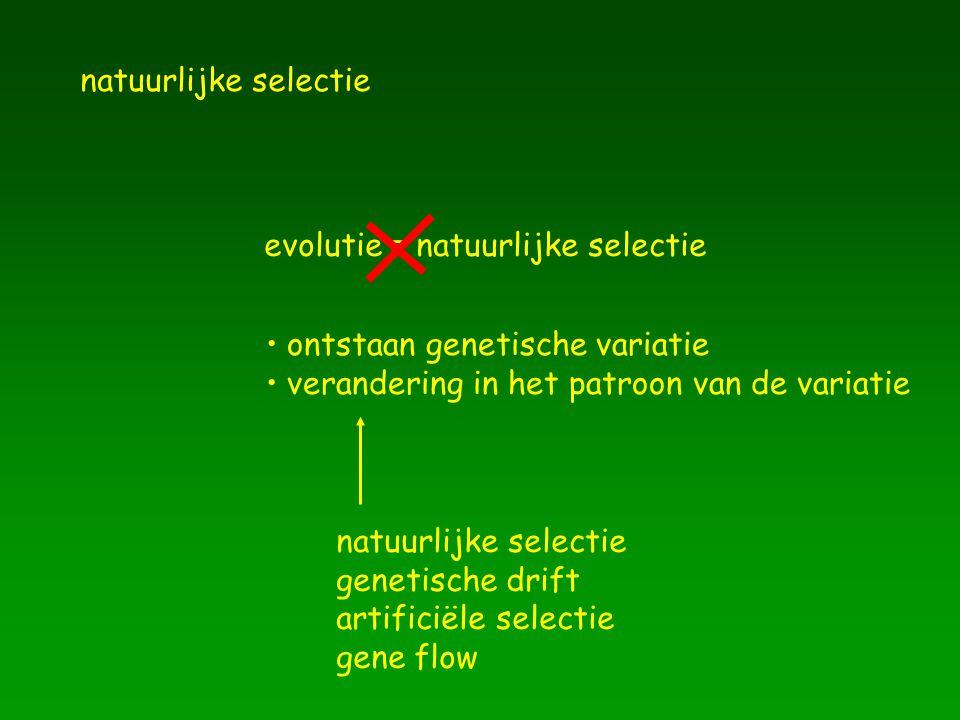 natuurlijke selectie evolutie = natuurlijke selectie ontstaan genetische variatie verandering in het patroon van de variatie natuurlijke selectie gene