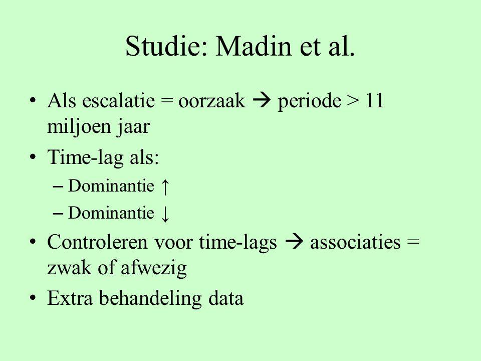 Studie: Madin et al. Als escalatie = oorzaak  periode > 11 miljoen jaar Time-lag als: – Dominantie ↑ – Dominantie ↓ Controleren voor time-lags  asso