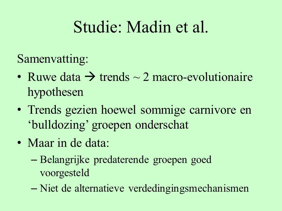 Studie: Madin et al. Samenvatting: Ruwe data  trends ~ 2 macro-evolutionaire hypothesen Trends gezien hoewel sommige carnivore en 'bulldozing' groepe