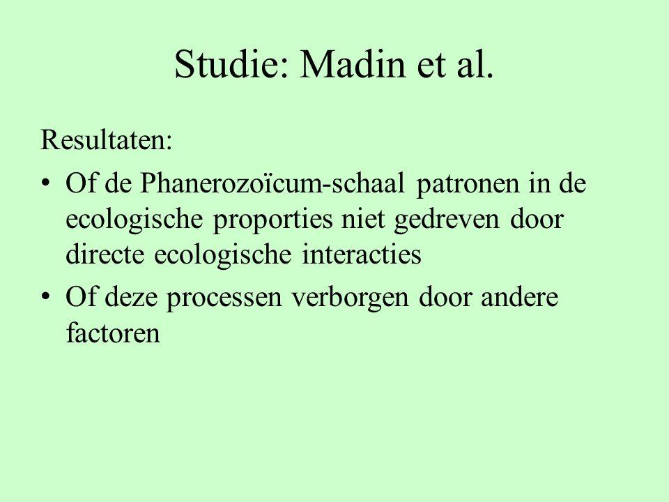 Resultaten: Of de Phanerozoïcum-schaal patronen in de ecologische proporties niet gedreven door directe ecologische interacties Of deze processen verb