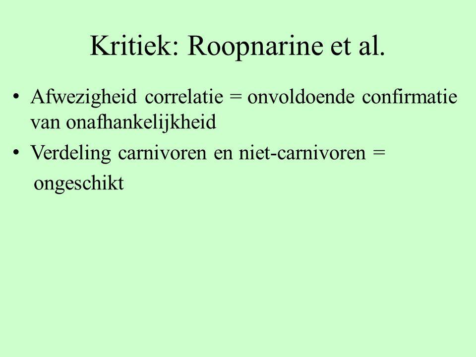 Kritiek: Roopnarine et al. Afwezigheid correlatie = onvoldoende confirmatie van onafhankelijkheid Verdeling carnivoren en niet-carnivoren = ongeschikt