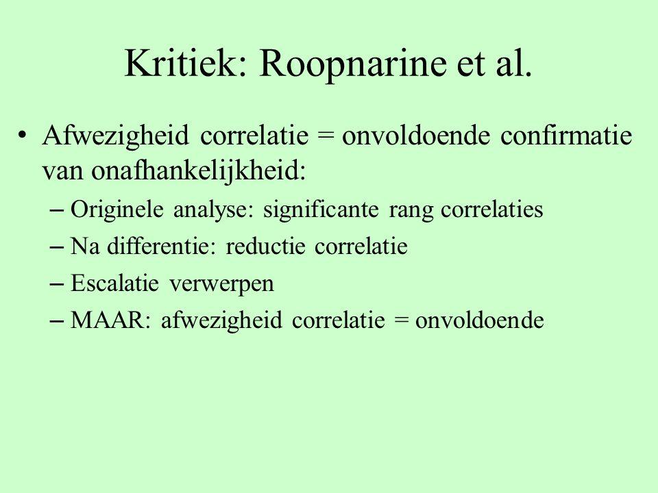 Kritiek: Roopnarine et al. Afwezigheid correlatie = onvoldoende confirmatie van onafhankelijkheid: – Originele analyse: significante rang correlaties