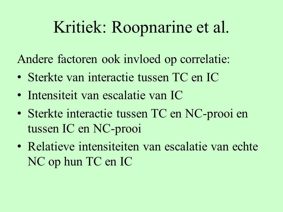 Kritiek: Roopnarine et al. Andere factoren ook invloed op correlatie: Sterkte van interactie tussen TC en IC Intensiteit van escalatie van IC Sterkte